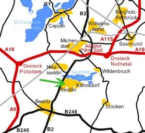 Autobahn A10 - Abfahrt Potsdam - Süd (Michendorf) in Richtung Beelitz